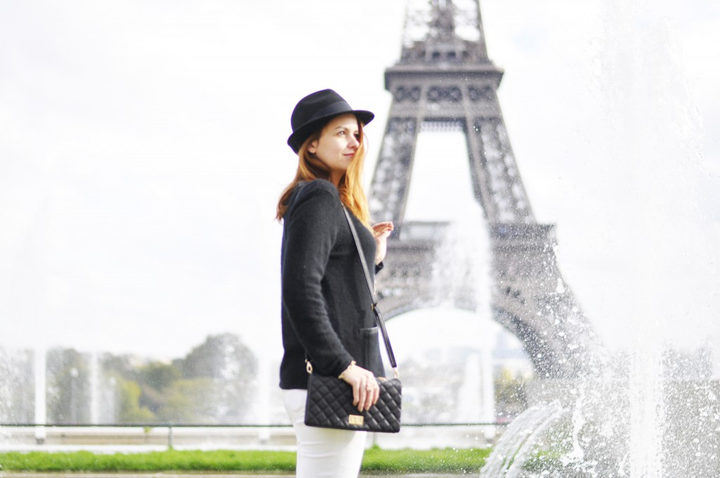 paris, eiffel tower, black and white outfit